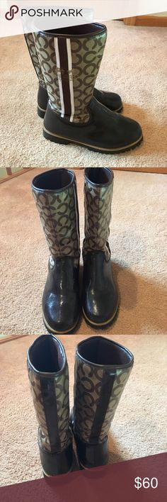 Coach brown signature rain boots Brown coach signature rain boots size 8 Coach Shoes Winter & Rain Boots