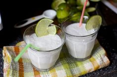 coconut limeade, slushie-style by smitten kitchen. I just made this (without sugar) and being on a low-carb diet, I am STOKED!!