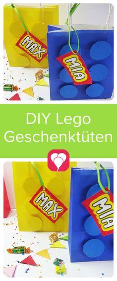 """Diese Lego-Geschenktüten passen perfekt zu unserem nächsten Kindergeburtstag mit dem Motto """"Lego"""". Und sie sind super einfach herzustellen. Auf blog.balloonas.com findest Du viele passende Ideen rund um Deinen Kindergeburtstag - von der Einladung, über Deko und Essen, bis zu den Gastgeschenken. Schau doch mal vorbei! #balloonas #Lego #diy #geschenktüten #giveaway #kindergeburtstag #kinder #gastgeschenk #mitgebsel"""