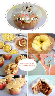 apple pie in an apple  INGREDENTS:  For Each Medium Apple  1 tbsp sugar, 1/2 tbsp all purpose flour, 1/4 tsp powdered cinnamon    Sweet Pie Dough  1/2 cup all purpose flour, 1/2 cup whole wheat flour, 1/2 cup corn starch,100g cold butter, 1 egg, 1/4 tsp salt, 1/4 tsp baking powder    Bake at 370°F (190°C) in a baking pan lined with parchment paper until they are tender and the dough is lightly golden (about 40 minutes).