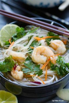 Easy gluten free version of Vietnamese pho with daikon noodles, shrimp, tofu &full of veggies. The best comforting bowl on a cold day. Perfect for slurping. Radish Recipes, Veggie Recipes, Asian Recipes, Soup Recipes, Dinner Recipes, Healthy Recipes, Ethnic Recipes, Asian Foods, Family Recipes