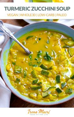 Gut-healing and anti-inflammatory turmeric coconut zucchini soup is creamy yet light, perfect for those with digestion or gut-health issues or simply looking for a healthy, satisfying soup meal. It's paleo, vegan, gluten-free, dairy-free, keto and Whole30 friendly. #soups #zucchini Paleo Recipes, Soup Recipes, Cooking Recipes, Zuchinni Recipes, Zuchinni Soup, Lunch Recipes, Free Recipes, Easy Recipes, Coconut Soup