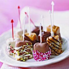 Candy-Box Caramels: Dress up packaged caramel squares by dipping them in sprinkles, crushed nuts, and bits of candy. Drizzle with dark or white chocolate to add even more color.