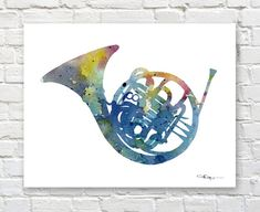 French Horn Art Print - Abstract Watercolor Painting - Wall Décor This is a professional quality giclee print from my original hand painted watercolor printed on acid free watercolor paper with archival inks to look and feel like the original. Print sizes are: 5 x 7 inches 8.5 x 11