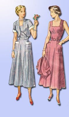 1940s Vintage Misses Sun Dress Simplicity Sewing Pattern 2884 Size 16 34B ORIG
