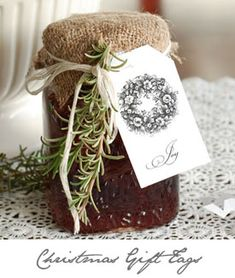 I love the presentation of the jar with the burlap and sprig of rosemary. Can do this with anything homemade.   Free Christmas Gift Tags Printables