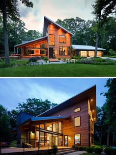 16 Examples Of Modern Houses With A Sloped Roof | The sloped roofs on this wood-clad modern home promote excellent drainage and open up the house to allow to take advantage of the greenery around it. Western Michigan / Lucid Architecture