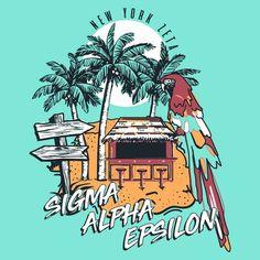 Sigma Alpha Epsilon Tropical Rush Design by College Hill Custom Threads. Create original designs or browse our design gallery. We specialize in custom Greek Tee Shirts or products. Fraternity Rush Shirts, Fraternity Formal, Sorority Shirt Designs, Sorority Shirts, Sigma Alpha Epsilon, Bid Day Shirts, Custom Clothing Design, Greek Shirts, Typography Poster Design