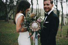 Wedding inspiration for Australian & New Zealand couples Protea Wedding, Floral Wedding, Wedding Bouquets, Wedding Flowers, Wedding Dresses, Protea Bouquet, Affordable Wedding Photography, Wedding Photography Tips, Wedding Photography