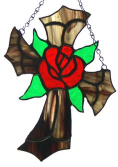 Stained Glass Cross with Red Rose Center Suncatcher. by glassnwood, $25.00