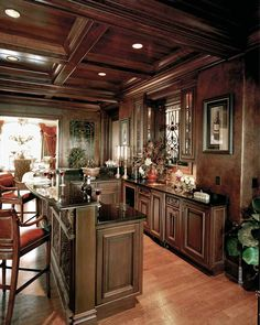 House Plans: Old World Charm  House Plan # HWEPL12500,  pub off great room