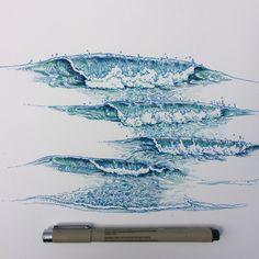 waves, wash me away Wave Drawing, Painting & Drawing, Stylo Art, Ocean Art, Ocean Waves, Art Tutorials, Art Inspo, Watercolor Paintings, Cool Art