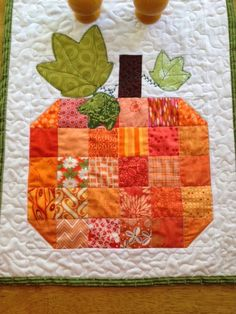 Scrappy Pumpkin Table Runner pattern at My Stitch Story: