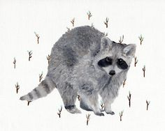 Rustic Raccoon  Original Oil Painting  Gray and Mint  by Hazen21, $82.00