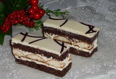 Jemné hnedobielé rezy s piškotami. Desert Recipes, Graham Crackers, Vanilla Cake, Food Videos, Tiramisu, Ale, Food And Drink, Sweets, Dinner