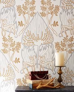 ARABIAN NIGHTS Gold Clay coated wallpaper by Relativity Textiles. Hand screen printed in the USA