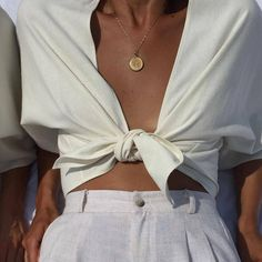 Na Nin Raw Silk Bobbie Tie Top / Available in Cream, Sand & Black summer fashion Looks Chic, Looks Style, My Style, Mode Outfits, Fashion Outfits, Womens Fashion, Fashion Tips, Fashion Trends, Ladies Fashion