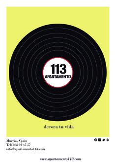 Apartamento 113 Campaña publicitaría + Web. Cartel principal de una sucesión de carteles para dicha campaña.  App113, es una tienda situada en el centro de la localidad de murcia la cual realiza elementos decorativos y mobiliario del hogar de forma artesanal.