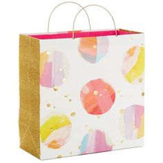 Watercolor Dots Large Square Gift Bag With Metal Handles, 10.25""