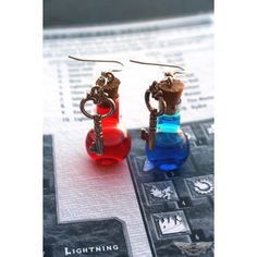 Mana and Health Potion Earrings with Key Charms PC Video Gamer ($15) ❤ liked on Polyvore featuring jewelry, earrings and hook earrings