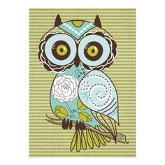Lime Stripes Owl party invitations