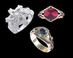 Nenya, the White Ring, Narya, The Red Ring and Vilya, the Blue Ring - The three rings of the elves