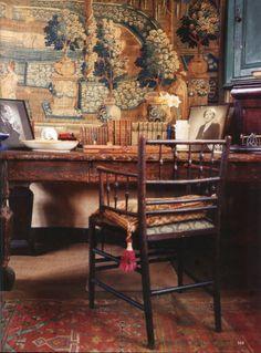"""robert-hadley:  """" Vita Sackville-West's oak desk in her workroom at Sissinghurst.  The World of Interiors, September 2008. Photo - Antony Crolla  """""""