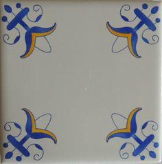 Decorative Fleur De Lis Tiles Delft Style Design in Delft Blue and Yellow $5 ea
