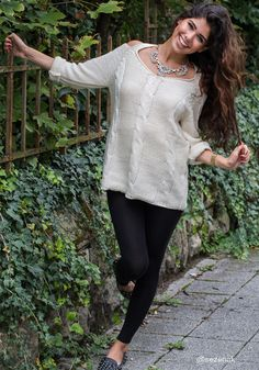 Shoulder Cut Out Sweater - Ivory @LookBookStore I'm also loving the hair color! I need a change.