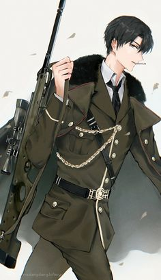 Hot Anime Boy, Cute Anime Guys, Anime Military, Military Men, Hot Army Men, The Kings Avatar, Anime Warrior, Handsome Anime Guys, Men In Uniform