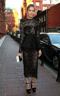 Elena Perminova black and sheer