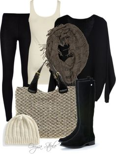 Black leggings and boots with oversized sweater. Add tweed bag and scarf for mixed textures.