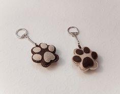 Felt dog paw key chain pendant by suyika on Etsy, $12.00