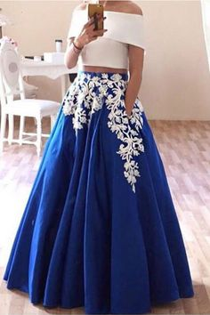 dacd99b338 Two Pieces Prom Dress TwoPiecesPromDress Off The Shoulder Evening Dress OffTheShoulderEveningDress  Fashion Prom Dresses