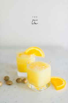 Pain Killer 2 oz Light Rum 4 oz Pineapple juice 1 oz Cream of Coconut 1 oz Orange juice Garnish: Orange wedge and nutmeg