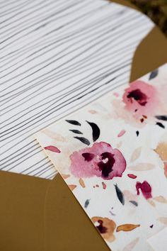 watercolor painted invitations, photo by Treehouse Photography http://ruffledblog.com/poetry-inspired-wedding-shoot #weddinginvitations #floral