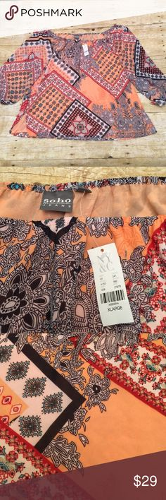NWT NY&Co off the shoulder Top! Super cute Brand new off the shoulder top by NY&CO. Bust measures 27 inches across. Peach, black, red and blue colors. NY&CO Tops Blouses
