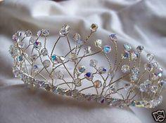 New handmade swarovski crystal silver bridal tiara by lorna1969, $120.00