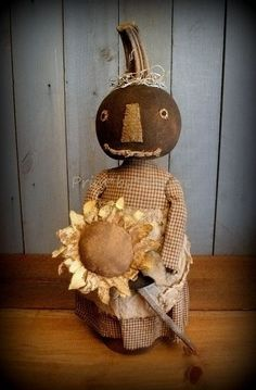 Primitive Black Pumpkin Doll with Sunflower in Rusty Can Autumn Fall Primitive…
