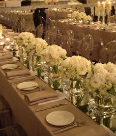 Mirrors as the table runner--will be really sparkly when picking up the flicker from candle light!