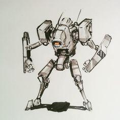 Mechin away the afternoon #mech #mecha #sketch #robot #sketcheveryday…