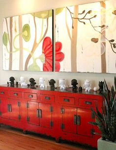 Chinese lacquer furniture looks modern. Decor, Furniture, Painted Furniture, Oriental Interior, Asian Inspired Decor, Red Cabinets, Chinese Furniture, Oriental Furniture, Asian Interior