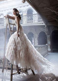 Cascading gown #wedding www.BlueRainbowDesign.com