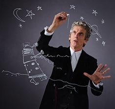 """Stuart Manning: """"An outtake from the PeterCapaldi DoctorWho shoot I art directed for RadioTimes.  Peter insisted on doing a sketch for the Dalek to work out how to draw the arms correctly as a mirror image. Great pics by Richard Grassie."""