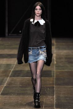 I'm not much into denim skirts, but I would totally wear this. Love this look! #saintlaurent #FW2013 #denimskirt