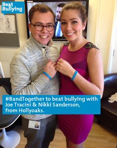 #BandTogether to BeatBullying with the cast of Hollyoaks. Here's Joe Tracini anf Nikki Sanderson joining the campaign.