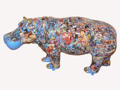 Lee Berthille, Ecce Hippo Rhino Art, Hippopotamus For Christmas, Collages, Hand Carved, Hand Painted, Horse Facts, Pop Art, Photo D Art, Art En Ligne