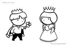 Le coin des petits [Balade en Champagne]: Coloriage maternelle préscolaire: le roi et la reine