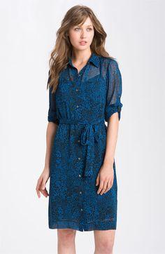DKNYC roll-sleeve sheer-print shirtdress ($119)