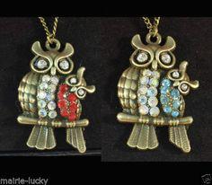 Collar-vintage-con-buho-de-bronce-Con-cristales-incrustados-Hecho-a-mano